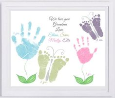 11x14 Flower and butterflies Handprint Art by by MyForeverPrints