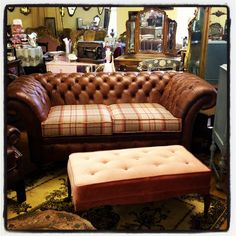 Leather Chesterfield Sofa With Harris Tweed Seat - Rose & Lee Vintage Living