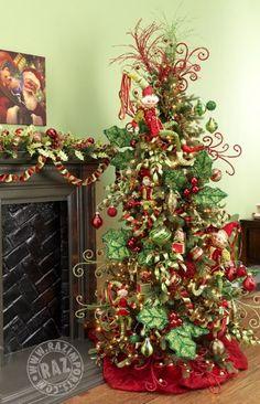 Temática de Árbol de Navidad con hojas de muérdago. #DecoracionNavidad