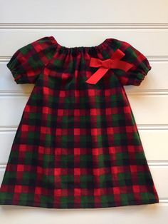 c36838da1e13 Red Buffalo Plaid Dress for Girl, Girl Winter Dress, Toddler Flannel Dress,  Toddler Girl Clothes, Little Girl Dress, Newborn Girl Dress