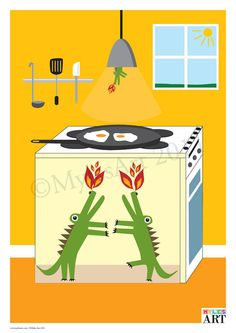 What better way to fry an egg! Dragon Cooker by MylesArtprints on Etsy, £9.99