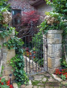 loooove stone fruit pieces atop the gorgeous stone pillars! and of course looove the wrought iron gate. and the walkway. Garden Gates And Fencing, Garden Paths, Garden Landscaping, Old Gates, Stone Pillars, Entrance Gates, Garden Entrance, House Entrance, Wrought Iron Fences