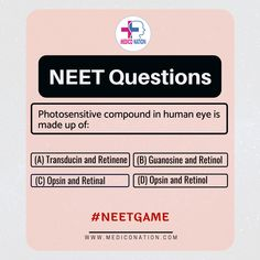 NEET Question Series  Photosensitive compound in human eye is made up of..........  Answer the following Question into the comment box.  for more follow Mediconation>>>>>> Human Eye, Personalized Items, This Or That Questions, Education, Box, Snare Drum, Onderwijs, Learning, Eyes