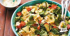 Spinaziesalade met gevulde pasta