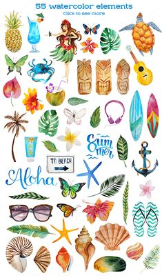 Блог Колибри: Aloha watercolor bundle PNG