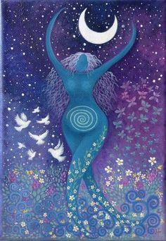 The Divine Feminine Goddess Art, Pagan Art, Moon Art, Spiritual Art, Fantasy Art, Painting, Art, Beautiful Art, Divine Feminine Art
