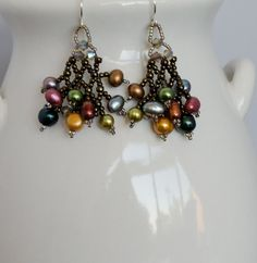 Jewel Tone Pearls Woven Earrings with Smokey by LindyLeeTreasures