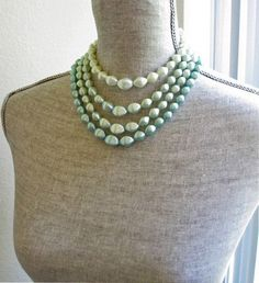 1950s 1960s necklace mint green multi strand by PinstripeVintage, $22.00