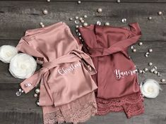 Bridesmaid robes-Bridesmaid Gifts-Custom Wedding Robes-Gift for Bride-Satin Lace Robes-Robe for Bride-Bridal Party Gift-Getting Ready Robe Best Bridesmaid Gifts, Bridesmaid Robes, Wedding Bridesmaids, Bridesmaid Proposal, Bridal Party Robes, Gifts For Wedding Party, Wedding Ideas, Wedding Goals, Wedding Things