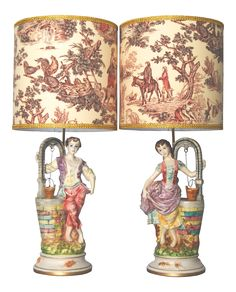 "Porcelain Figural Lamps ""Capodimonte-Style"" - A Pair on Chairish.com"