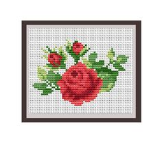 Roses Counted Cross Stitch Pattern. PDF Instant Download. Nature. Decor Pattern.