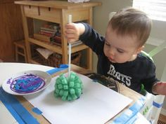 Toddler activities. Try different brushes and sponges for texture.