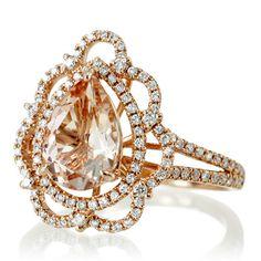 Rose Gold Vintage Victorian Design Pear Shape Morganite by SAMnSUE