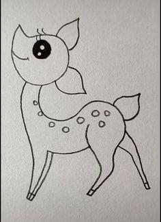 Deer Drawing Easy Deer Drawing Easy - More Ideas at our Easy Drawings For Kids, Art Drawings Sketches Simple, Bird Drawings, Pencil Art Drawings, Cute Drawings, Simple Cartoon Drawings, Simple Animal Drawings, Drawing Ideas, Deer Drawing Easy