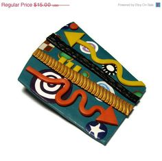 SALE Teal Collage Polymer Clay Pin Handmade by SweetchildJewelry, $13.50  #CT #CIJ #Christmasinjuly