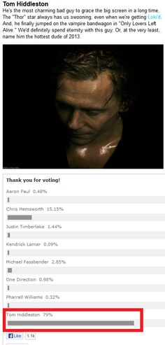 YOU KNOW WHAT TO DO LADIES! (click on image for link to vote) >> Vote Hiddleston SEXIEST MAN ALIVE. He's the reason I love villains!