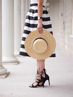 Striped Midi Skirt, Summer Straw Wide Brimmed Hat, Black Lace Up Heels