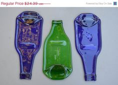 ON SALE 3 Piece Wine Bottle Serving Set by norcalartglass on Etsy, $23.17