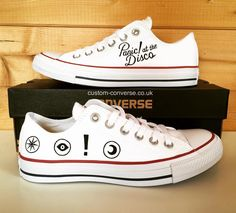 at the Disco White Low Tops customconverse customshoes conversehellip Emo Shoes, Disco Shoes, Converse Shoes, Painted Converse, Painted Shoes, Custom Converse, Custom Shoes, Converse Low Tops, Panic! At The Disco