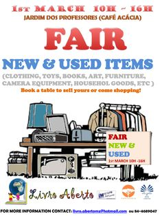 This next Sunday, from 10AM-4PM, don't miss the New & Used Items Fair, and support Livro Aberto.