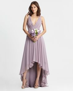 The best purple bridesmaid dresses is different shades from lavender to plum to lilac. Hi Low Bridesmaid Dresses, Wedding Dresses, Bridesmaids, Wedding Jumpsuit, Chiffon Gown, Simple Dresses, Wedding Inspiration, Wedding Ideas, Wedding Things