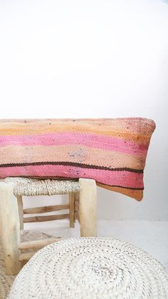 Moroccan Kilim pillow cover pink