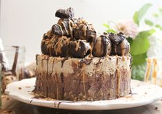 Raw Salted Caramel Peanut Butter Chocolate Vanilla Cheesecake