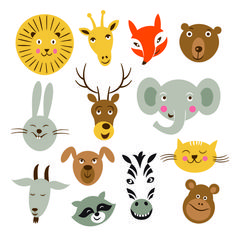 Different animals heads vector free