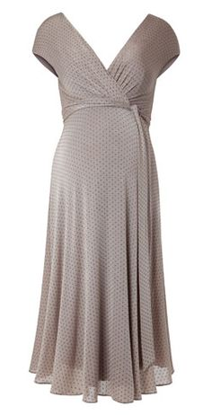 Go dotty for the versatile pattern of our Alessandra Polka Dot maternity gown, perfect for a garden party.