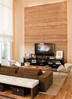 52 trendy Ideas home sala grande madeira Living Room Tv, Living Spaces, Modern Furniture, Home Furniture, Home Theater Design, Wall Cladding, Bars For Home, Decoration, Architecture