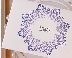 Congratulations Note cards Bravo blank by SunshineandRavioli2, $7.50