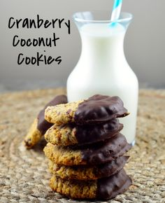 Chocolate Dipped Cranberry Coconut Cookies Gluten Free & Vegan from May I Have That Recipe
