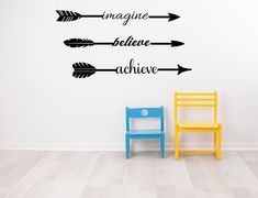 Imagine Believe Achieve Wall Inspirational Sticker Quote Custom Wall Decals, Vinyl Wall Decals, Inspirational Wall Decals, Eco Friendly Paint, Letter Wall, Wall Signs, Sticker, Quote, Arrows