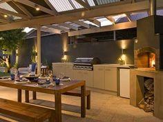 Entertaining area design ideas outdoor living design area real home Outdoor Areas, Outdoor Rooms, Outdoor Living, Outdoor Kitchens, Outdoor Kitchen Design, Patio Design, Backyard Kitchen, Backyard Patio, Latest House Designs
