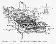 Golden Gate Freeway: Alternative G, East portal of Russian Hill tunnel (1965) by Eric Fischer, via Flickr