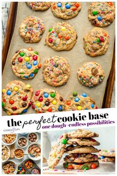 The Perfect Cookie Base is one cookie dough recipe that you can use to make TONS of cookie recipes! Crisp, buttery edges with soft centers, this cookie dough is the perfect canvas to get creative with your add-ins. Chocolate chips, chopped candy, sprinkles, and nuts this foolproof cookie recipe is so adaptable! #cookiesandcups #cookiedough #cookierecipe #cookiebase