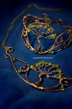 """Gardens of the Ancients"" Copper pendant and bracelet chrysolites - nice variation"