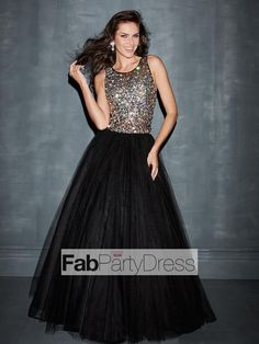 Ball+Gown+Scoop++Rhinestone+Sleeveless+Floor-length+Tulle++Prom+Dresses+/+Evening+Dresses+