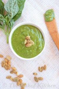 Pumpkin Seed Pesto. Ingredients: basil leaves, extra virgin olive oil, pumpkin seeds, garlic cloves, sea salt, lemon juice