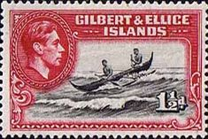 Gilbert and Ellice Islands 1939 SG 45 Boat Canoe Crossing Reef Fine Mint Buy Stamps, Love Stamps, Vanuatu, Commonwealth, Tuvalu Island, George Vi, First Day Covers, Stamp Collecting, Canoe