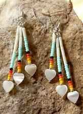 Native American Navajo Handcrafted Beaded Earrings with MOP Hearts