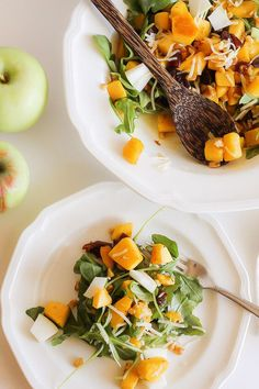 A Fall Salad with Roasted Butternut Squash and Apples Warm Apple Cider, Fall Salad, Squash Salad, Apple Salad, Roasted Butternut Squash, Winter Food, Autumnal, Farmers Market, Food Network Recipes