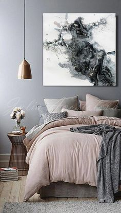 4545 Black and White Watercolour Painting Abstract Print Large Wall Art Canvas Art Abstract Black White Print Rustic Modern Decor Bedroom Black, Small Room Bedroom, Trendy Bedroom, Bedroom Colors, Modern Bedroom, Bedroom Decor, Bedroom Ideas, Master Bedroom, Bedroom Furniture
