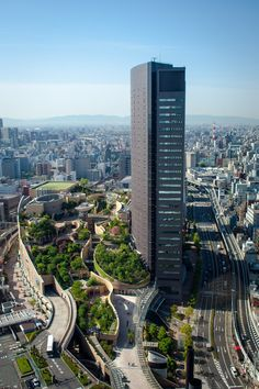 Namba Parks Garden is an eight-level nature center on the roof of an office center/shopping complex located in Japan. It features rocks, streams, waterfalls, trees, lawns, and even vegetable gardens to create a natural oasis amidst a sprawling urban city.