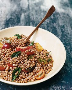 israeli couscous with basil, tomatoes and balsamic vinegar, yummmm
