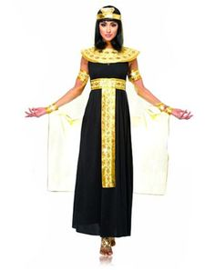 Adult Costumes - This Queen of the Nile Egyptian Cleopatra Costume features the long beautiful black costume dress with attached gold belt,the gold neckpiece, the headpiece with gold beads, and the sheer cape with attached gold armbands and cuffs. Egyptian Fashion, Egyptian Women, Egyptian Outfits, Adult Costumes, Costumes For Women, Cat Costumes, Ancient Egyptian Costume, Egyptian Queen Costume, Arabian Costume