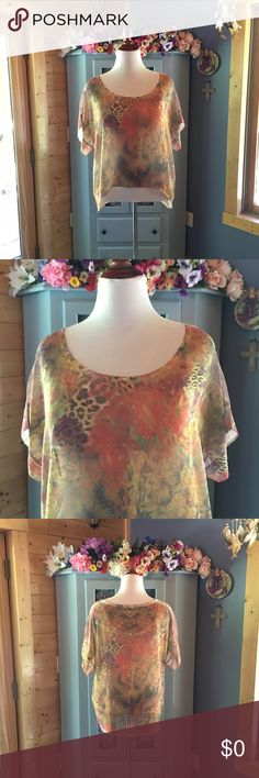 CHARLOTTE RUSSE Beautiful Blouse Gorgeous semi sheer pull over blouse. Blouse is longer in the back. Would look amazing with a tank underneath or could be worn alone. Beautiful design and colors. Never worn. New condition. Women's size XL. Roomy style. Has the hidden underarms so you're underarms don't show. Wrinkle free fabric that's machine washable. 100% polyester. Use the bundle option for an amazing discount. All items come from a smoke & pet free home. Charlotte Russe Tops Blouses