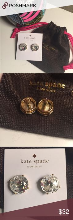 NEW! Kate Spade large gumdrop stud earrings Pouch included! Worn once. Gorgeous and sparkly. kate spade Jewelry Earrings