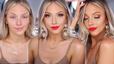 Glowy Glam Summer Makeup | Bright Lip Tutorial - YouTube