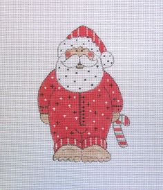 Barefoot Santa Claus in His Jammies Handpainted Needlepoint Canvas #Unbranded